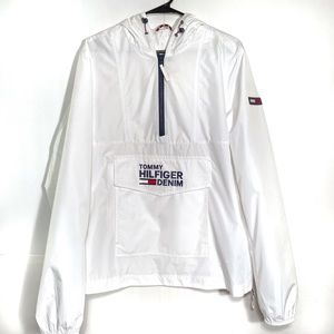 Tommy Hilfiger White Hoodie Windbreaker Spell Out